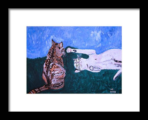 Cat Framed Print featuring the painting Want To Play by Valerie Ornstein