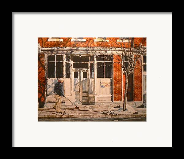 Appalachian Life Framed Print featuring the painting War At Home by Thomas Akers