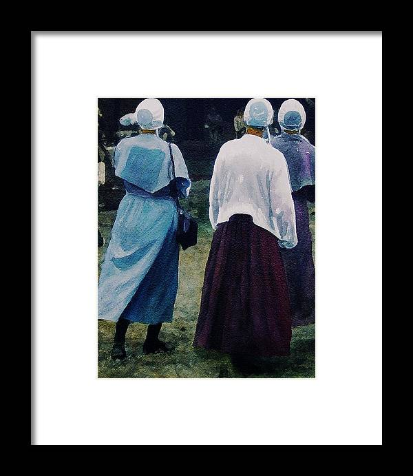 Oil Framed Print featuring the painting War Eagle Ladies by Tom Herrin