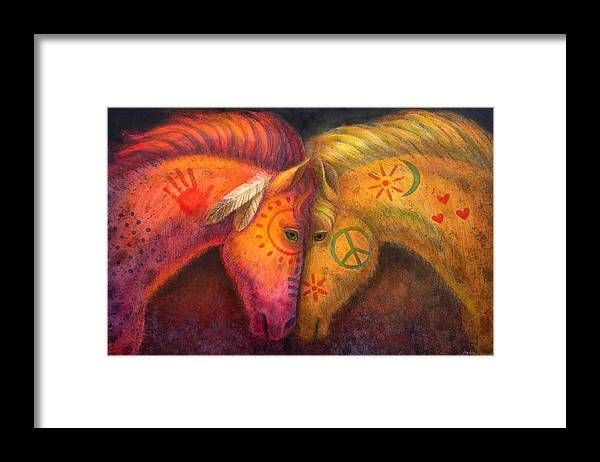 Horse Framed Print featuring the painting War Horse and Peace Horse by Sue Halstenberg