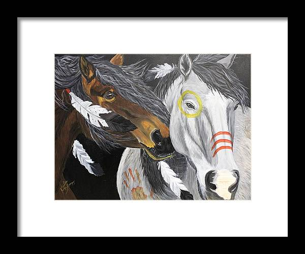 Warhorse Framed Print featuring the painting War Horse by Kendra DeBerry