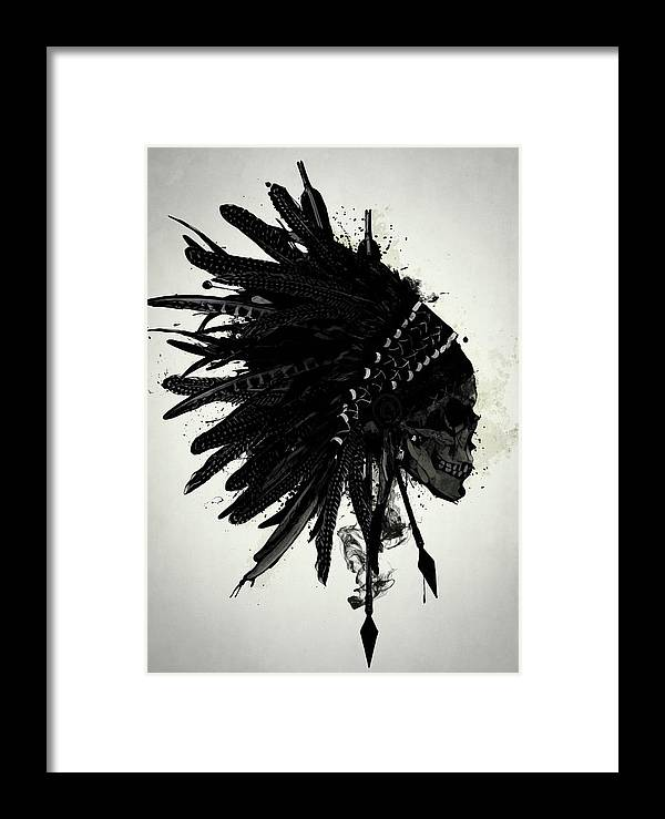 a2ff17b1b78 Indian Framed Print featuring the digital art Warbonnet Skull by Nicklas  Gustafsson