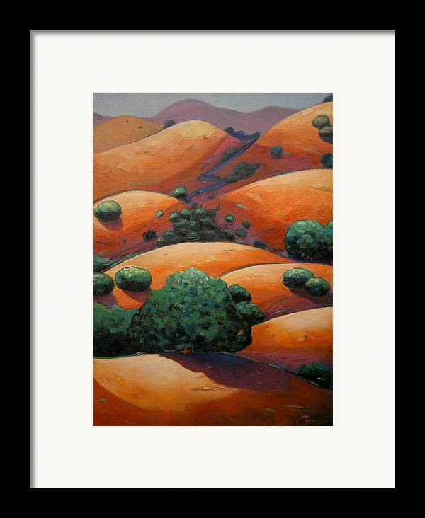 California Landscape Framed Print featuring the painting Warm Afternoon Light On Ca Hillside by Gary Coleman