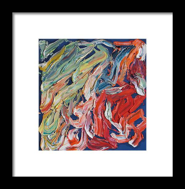 Abstract Framed Print featuring the painting Warm Current. Colorful Painter Palette. Exhausted Paint And Abstract Painting. by Vitali Komarov