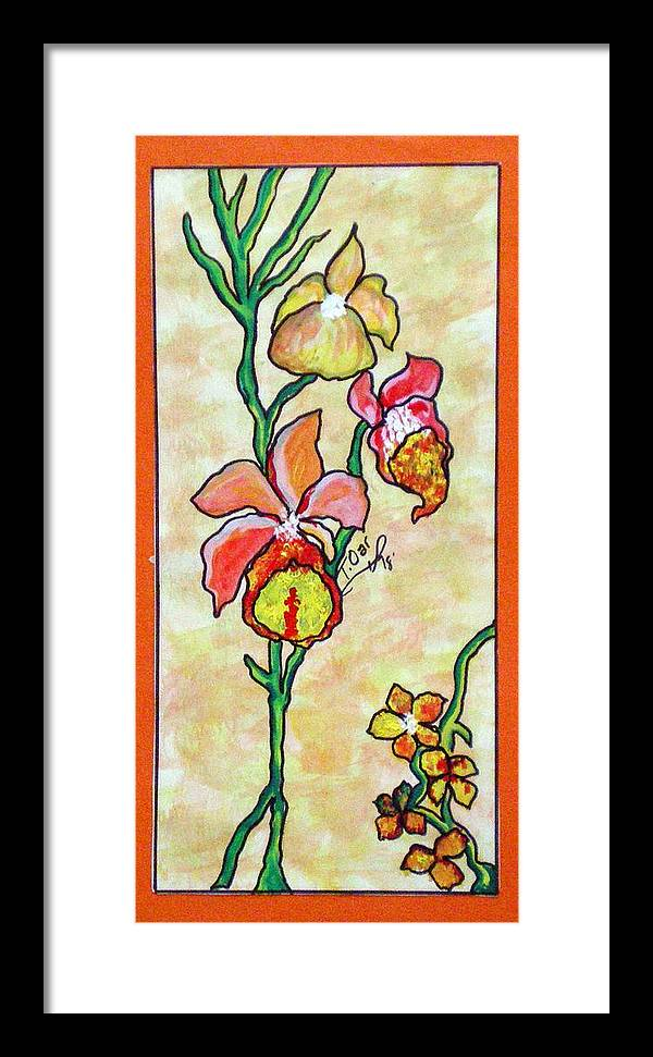 Flowers Flower Warm Framed Print featuring the painting Warm Flower Study by Tammera Malicki-Wong
