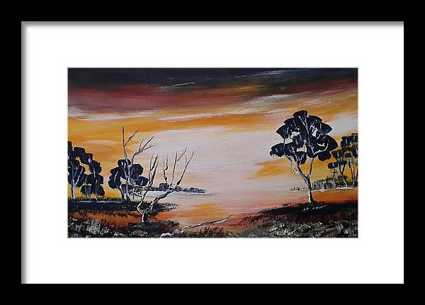 Landschap Framed Print featuring the painting Warm Sunset by Jan Gerard Bakker