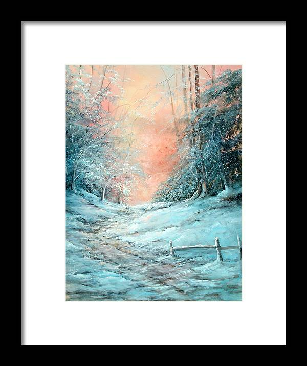 Winter Framed Print featuring the painting Warm Winter Fantasy by Sally Seago