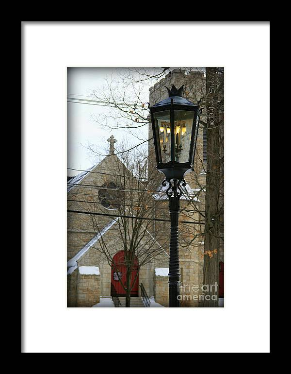 Lamppost Framed Print featuring the photograph Warm Winter's Light by Debra Straub