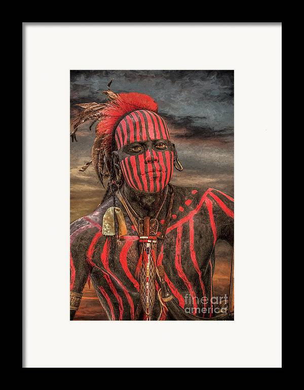 Warrior Framed Print featuring the digital art Warpath Shawnee Indian by Randy Steele