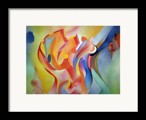Abstract Framed Print featuring the painting Warping Reality by Peter Shor