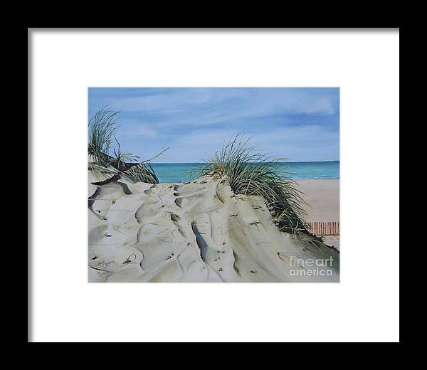 Lake Framed Print featuring the painting Warren Dunes by Mary Rogers