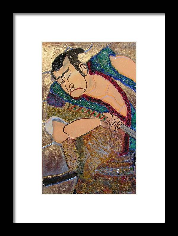 Figure Framed Print featuring the mixed media Warrior by John Vandebrooke