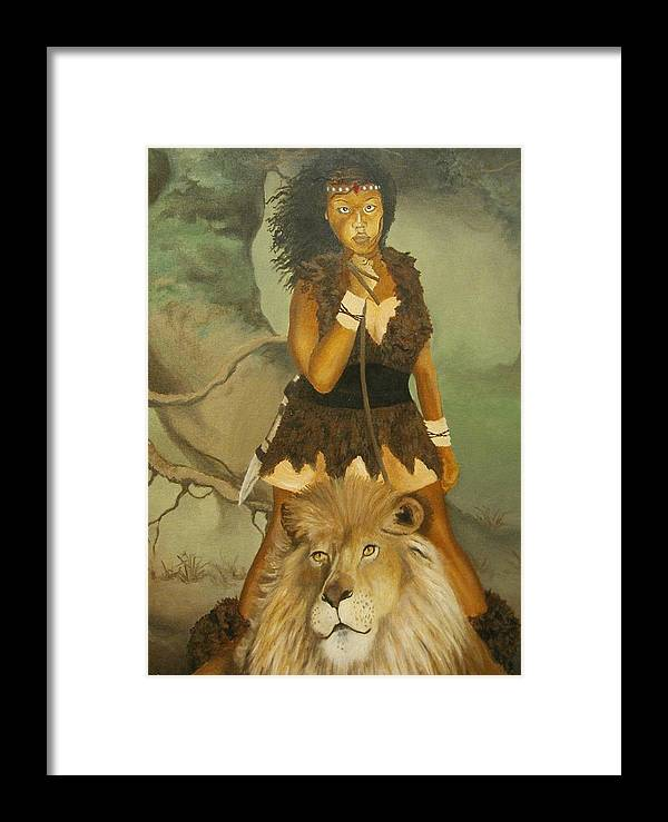 Portrait Framed Print featuring the painting Warrior Princess by Angelo Thomas