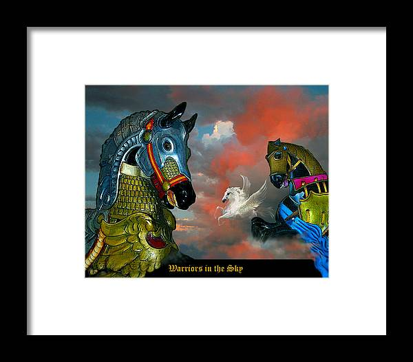 Horses Framed Print featuring the digital art Warriors In The Sky by Bette Gray