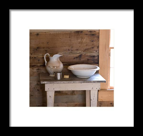 Wash Framed Print featuring the photograph Wash Bowl Pitcher And Cup by Douglas Barnett