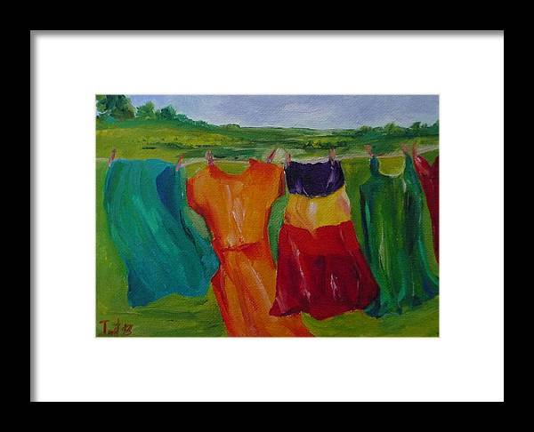 Wash Clothes Dance Framed Print featuring the painting Wash Dance by Irit Bourla