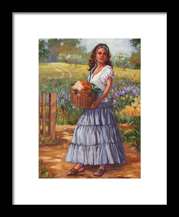 Female Figure Framed Print featuring the painting Wash Day by Dianna Willman