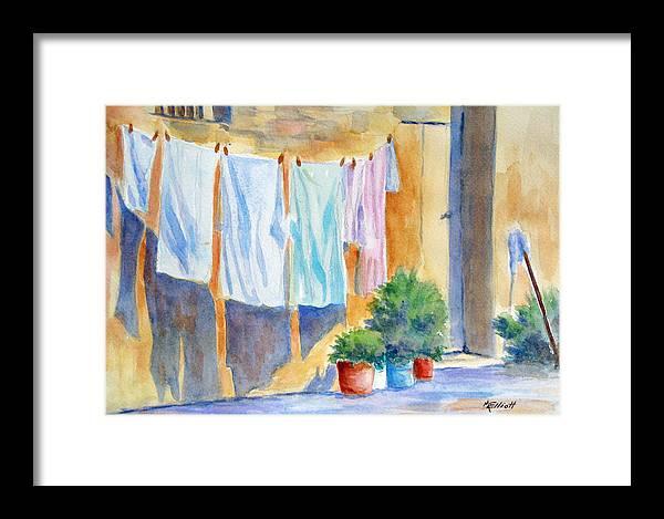 Wash Framed Print featuring the painting Wash Day In Marsaxlokk by Marsha Elliott