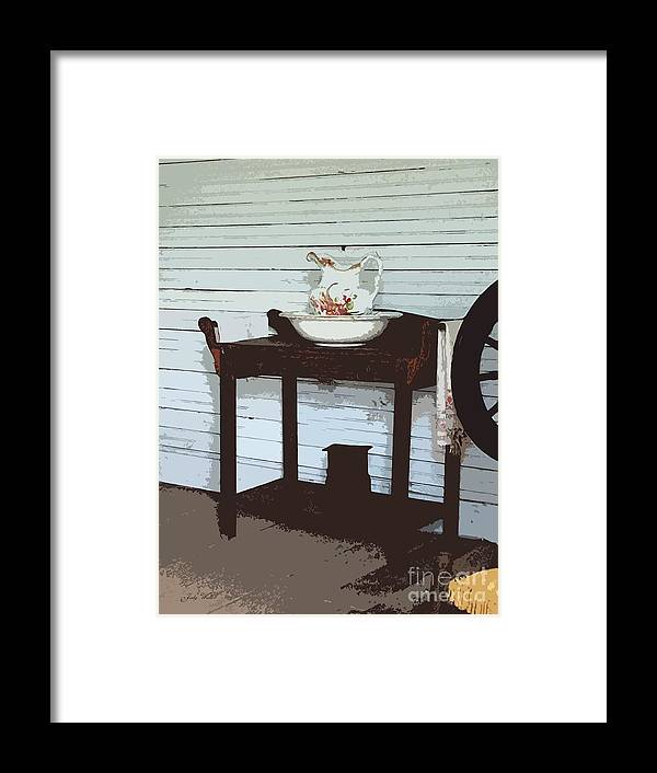 Old Framed Print featuring the photograph Wash Stand by Judy Waller