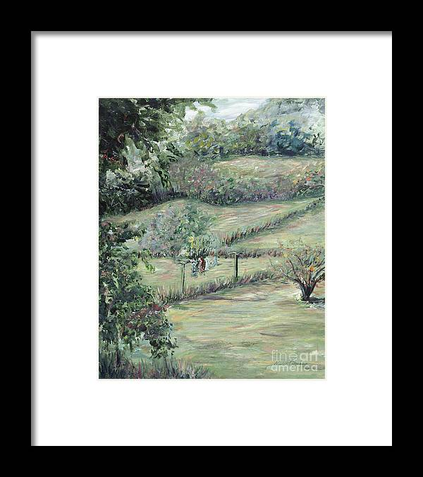 Landscape Framed Print featuring the painting Washday in Provence by Nadine Rippelmeyer