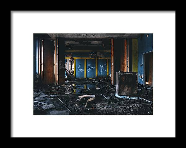 Abandoned Framed Print featuring the photograph Washed Away - Abandoned Building Interior by Dylan Murphy