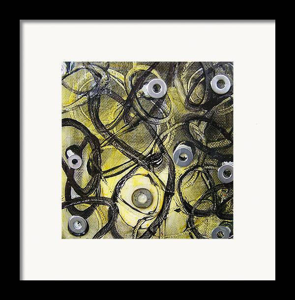 Mixed Media Framed Print featuring the painting Washer Cells by Angela Dickerson