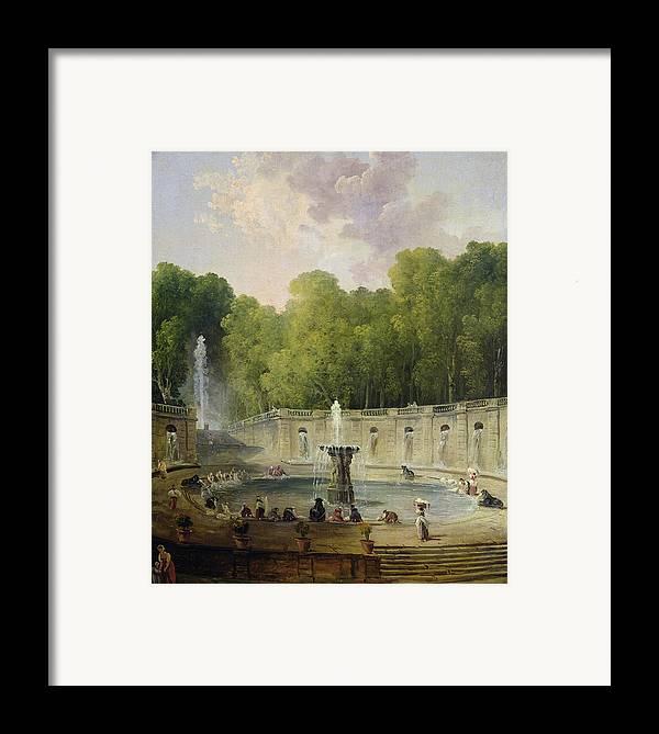 Washerwomen Framed Print featuring the painting Washerwomen In A Park by Hubert Robert