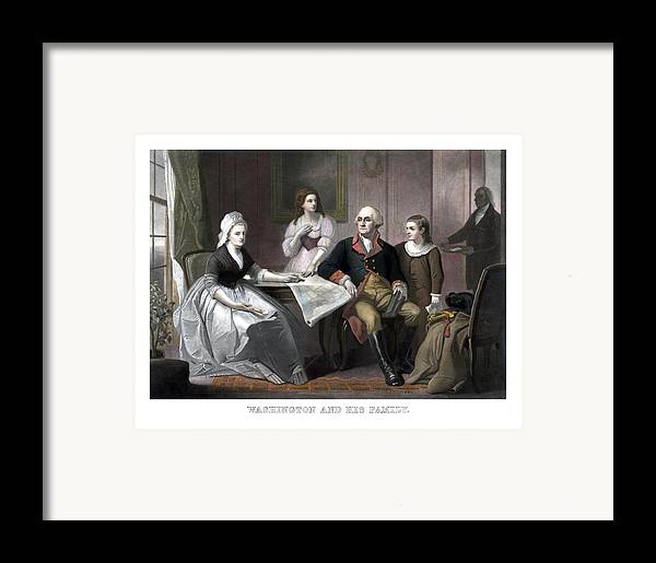 George Washington Framed Print featuring the painting Washington And His Family by War Is Hell Store