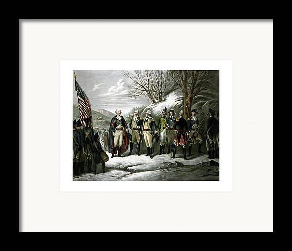 George Washington Framed Print featuring the painting Washington And His Generals by War Is Hell Store