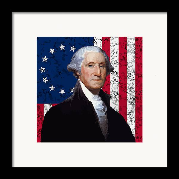George Washington Framed Print featuring the painting Washington And The American Flag by War Is Hell Store