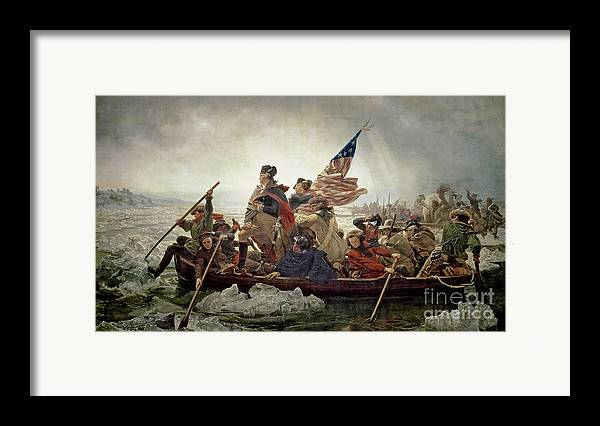 Washington Framed Print featuring the painting Washington Crossing The Delaware River by Emanuel Gottlieb Leutze