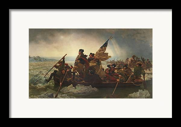 George Washington Framed Print featuring the painting Washington Crossing The Delaware by War Is Hell Store