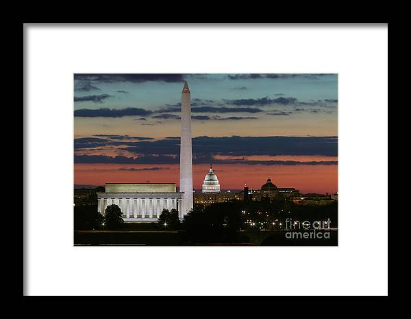 Clarence Holmes Framed Print featuring the photograph Washington Dc Landmarks At Sunrise I by Clarence Holmes