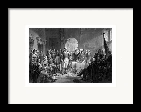 George Washington Framed Print featuring the drawing Washington Meeting His Generals by War Is Hell Store