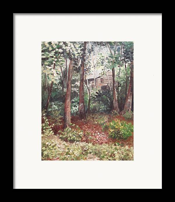 Landscape Framed Print featuring the painting Watauga Cabin by Scott Plaster