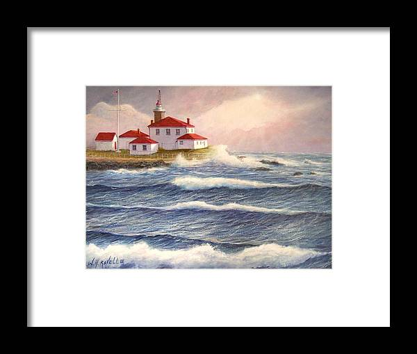 Seascape Framed Print featuring the painting Watch Hill Lighthouse In Breaking Sun by William Ravell