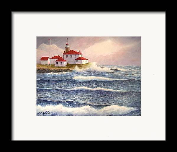 Seascape Framed Print featuring the painting Watch Hill Lighthouse In Breaking Sun by William H RaVell III