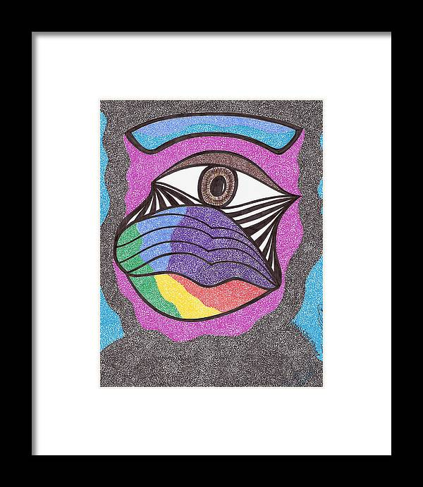 Abstract Framed Print featuring the drawing Watchandpray by Freda Garland