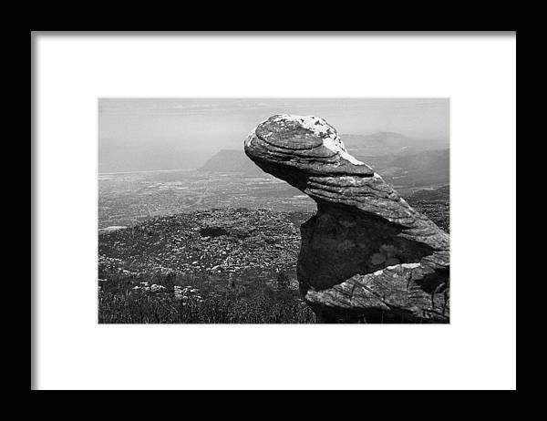 Black And White Framed Print featuring the photograph Watchful Rock by Terence Davis