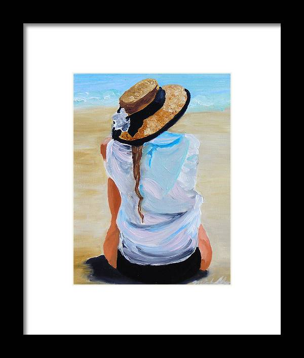 Beach Scene Framed Print featuring the painting Watching A Generation by Michael Lee