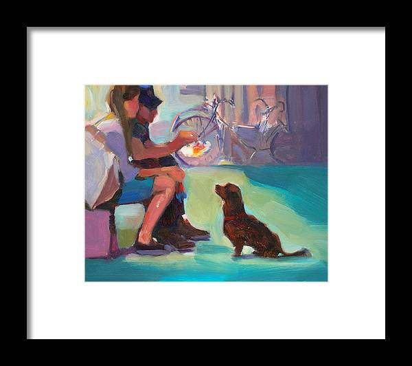 Dog Framed Print featuring the painting Watching And Waiting by Merle Keller