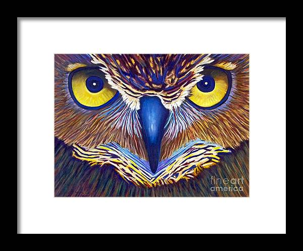 Owl Framed Print featuring the painting Watching by Brian Commerford