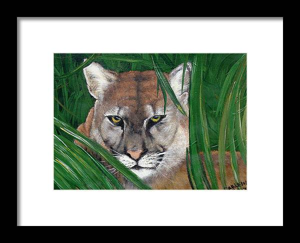 Panther Framed Print featuring the painting Watching Florida Panther by Darlene Green