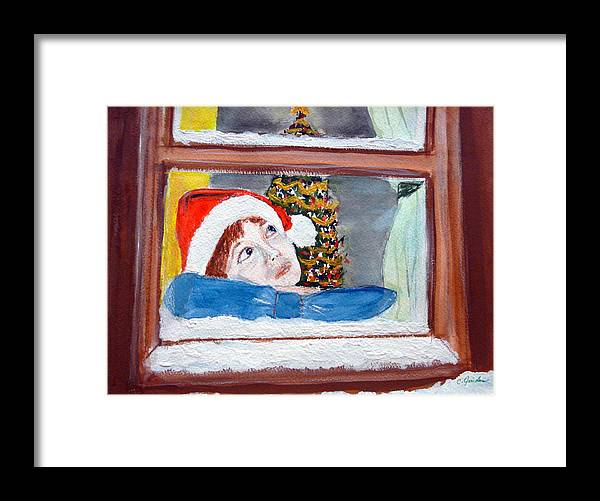 Christmas Framed Print featuring the painting Watching For Santa by Cathy Jourdan