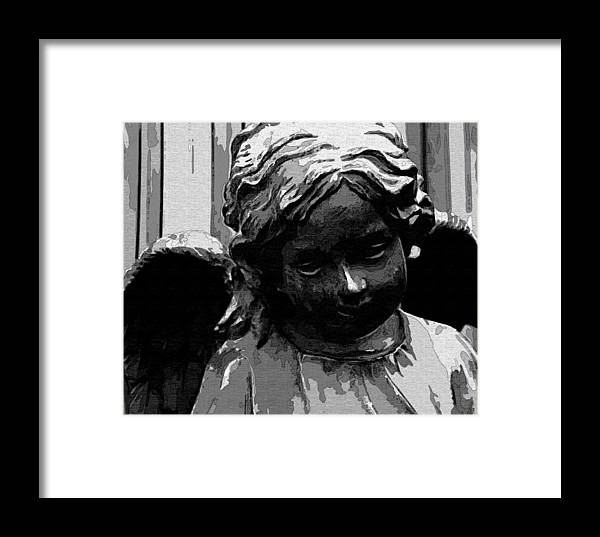 Angel Framed Print featuring the digital art Watching Over You by Holly Ethan