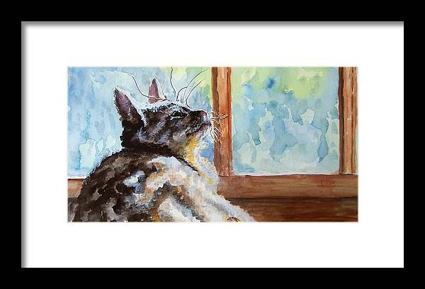 Cat Framed Print featuring the painting Watching The Rain by Jim Phillips