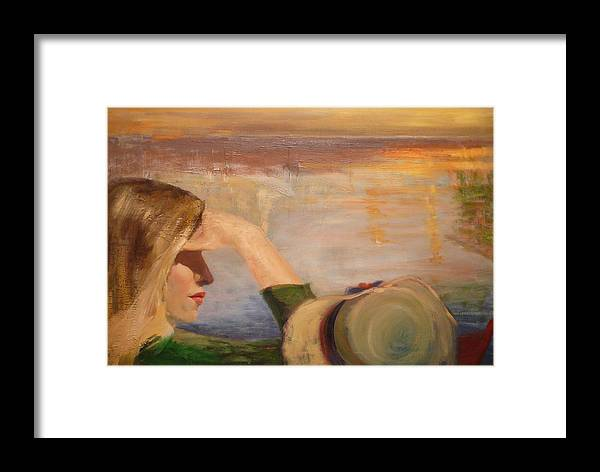 Side View Of A Girl Framed Print featuring the painting Watching The Sails by Irena Jablonski