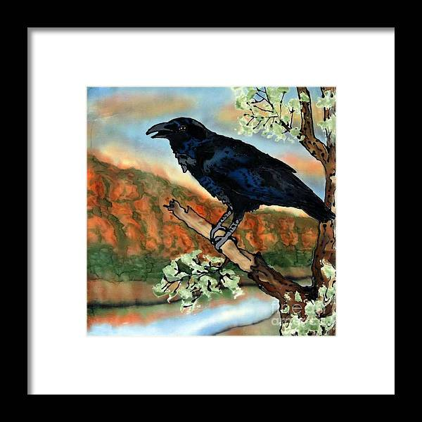 Silk Painting Framed Print featuring the painting Watching the Sunset by Linda Marcille