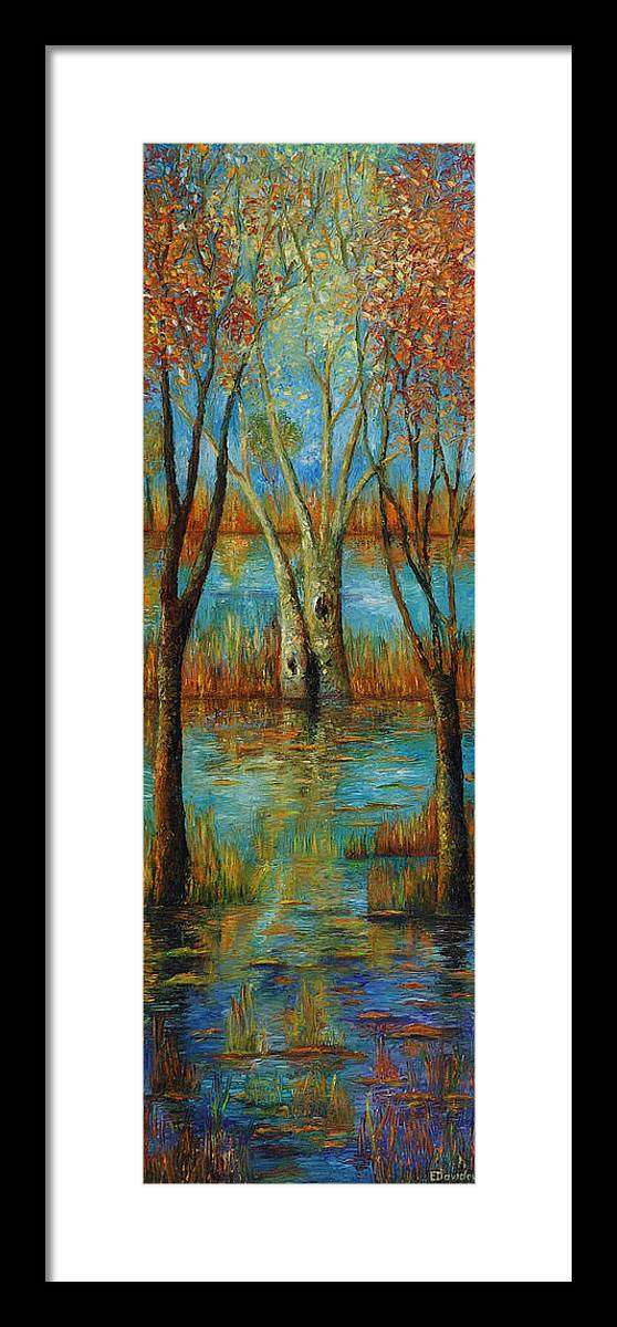 Landscape Framed Print featuring the painting Water - Left Part Of Triptych. by Evgenia Davidov