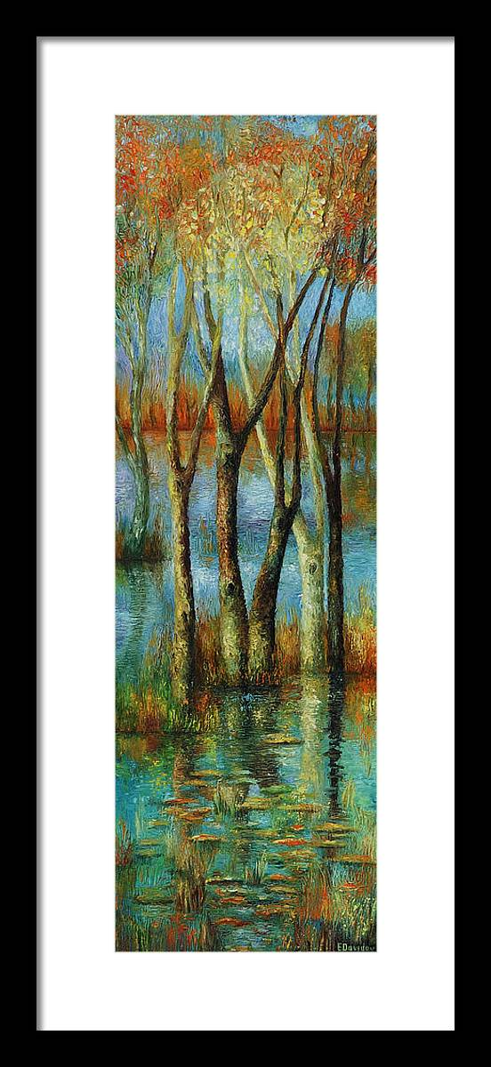 Landscape Framed Print featuring the painting Water - Middle Part Of Triptych. by Evgenia Davidov
